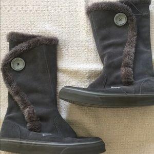 Vans Phoebe Womens Gray Suede Boots Fur Trimmed 8